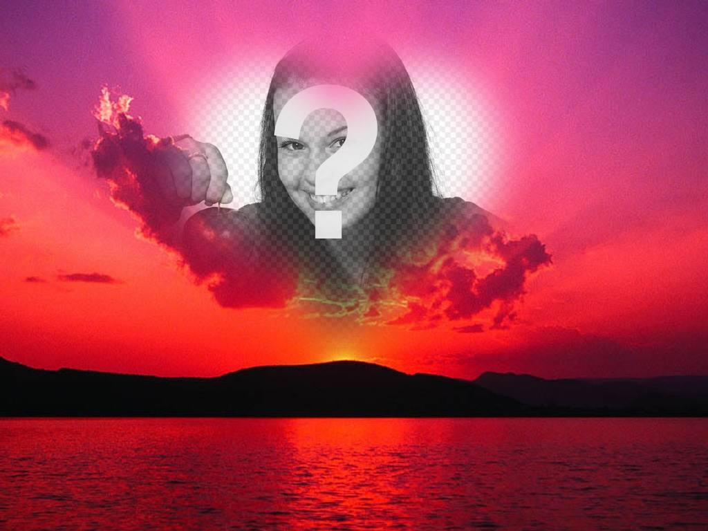 Fotomontage von einem Sonnenuntergang mit einem rosa Himmel und einem herzförmigen Rahmen, wo wir ein Foto aufnehmen können