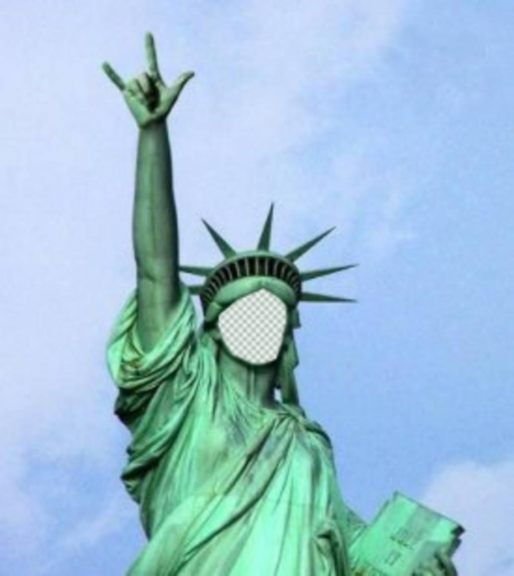 Fotomontage, in dem Sie Ihr Gesicht auf dieser eigentümlichen Freiheitsstatue