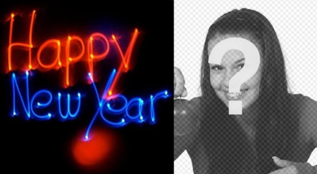 Beglückwünscht das neue Jahr mit einer Animation mit Neon-Buchstaben mit Ihrem Hintergrund Foto