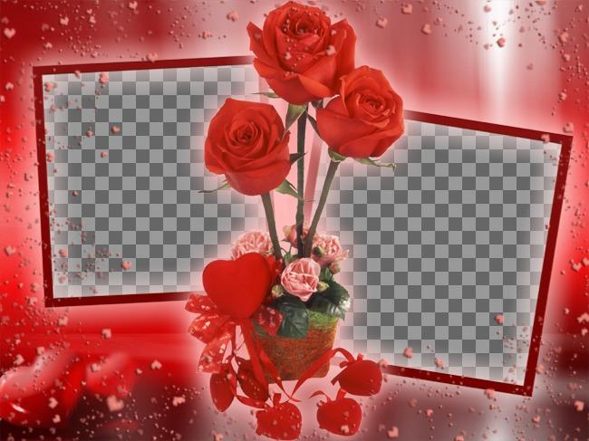 Photo Frame, wo Sie zwei Bilder, die von einigen Rosen gebunden erscheinen setzen können. rotem Hintergrund mit Herzen