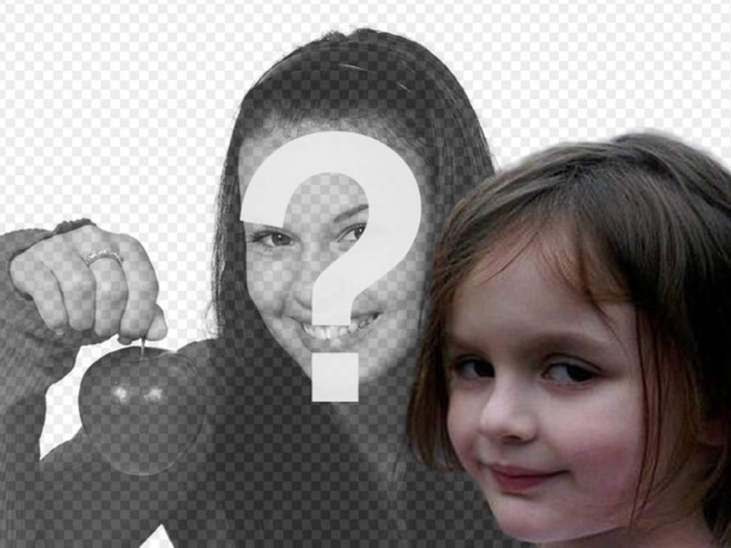 Fotomontage mit dem Feuer Mädchen, eine der beliebtesten Internet-Meme