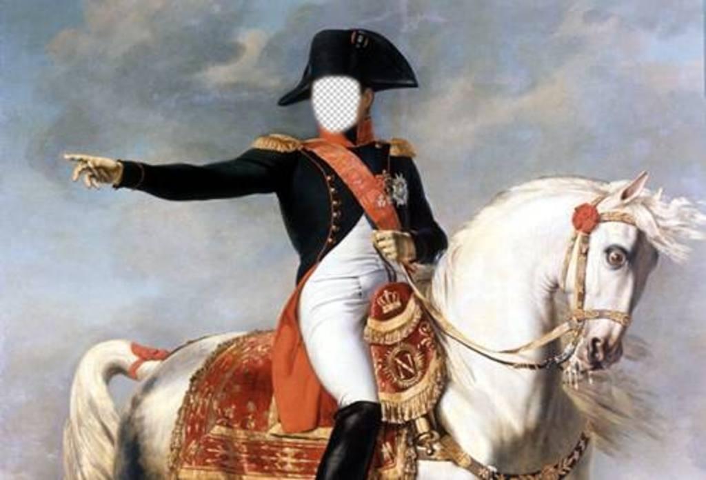 Fotomontage mit Napoleon Bonaparte auf seinem Pferd