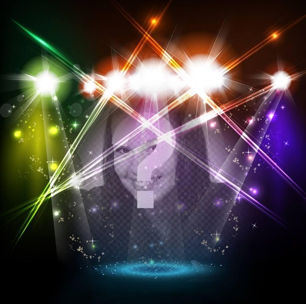 Fotomontage der musikalischen Bühne mit bunten Lichtern mit Ihrem Foto