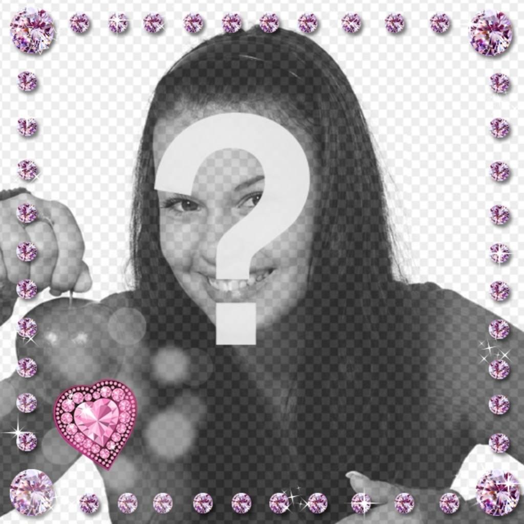 Bilderrahmen mit rosa abgerundet glänzenden Diamanten und Herz mit Lichtblitzen geprägt