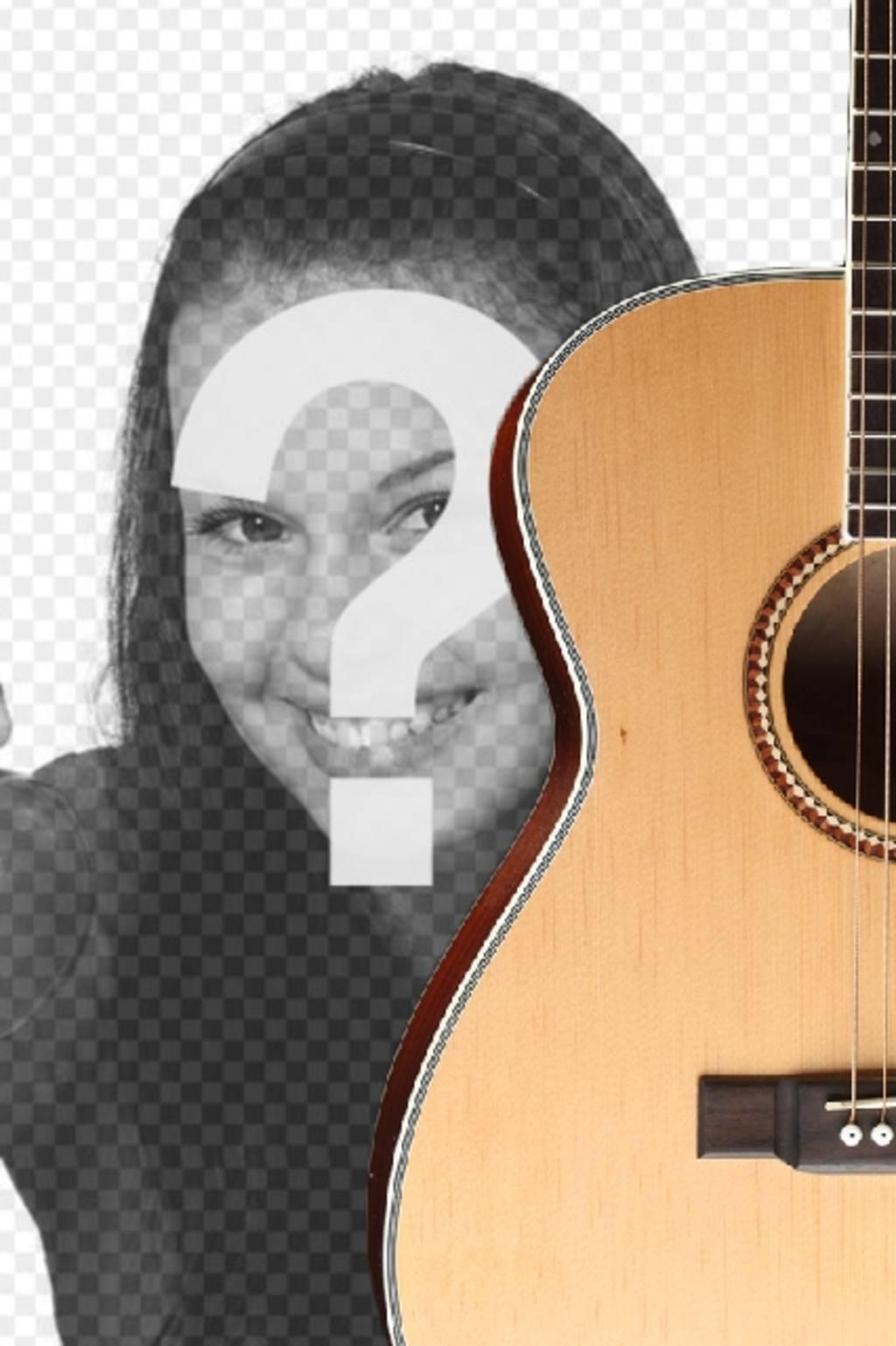 Fotomontage zu setzen eine spanische Gitarre in einem Foto und Text hinzufügen online