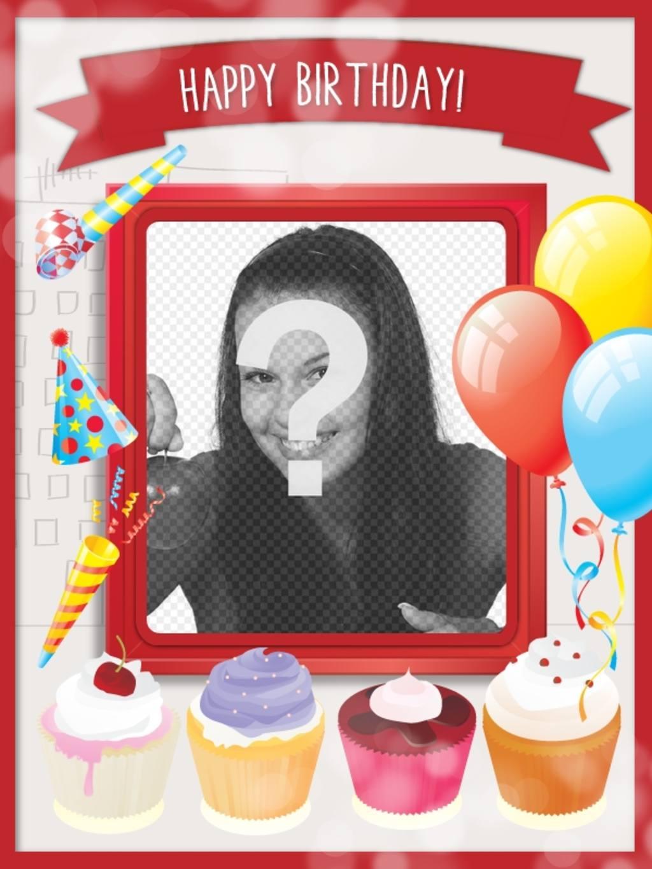 Geburtstagskarte mit s en kuchen und festliche dekoration for Dekoration mit luftballons