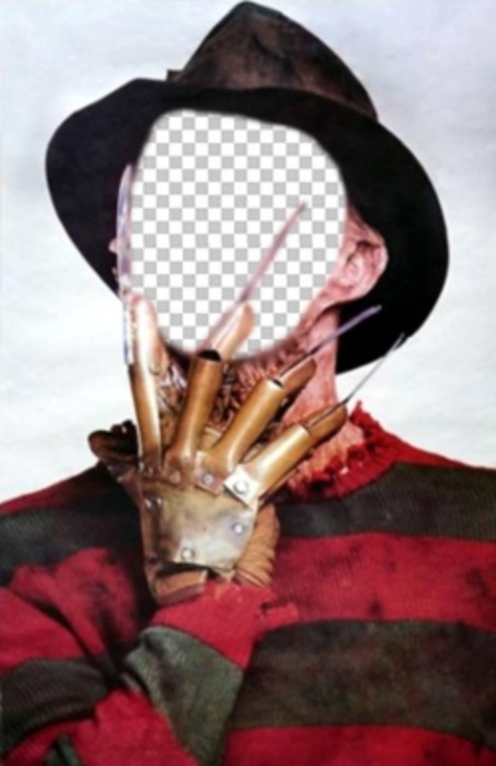 Fotomontage von Freddy Krueger mit seinen Krallen in das Gesicht