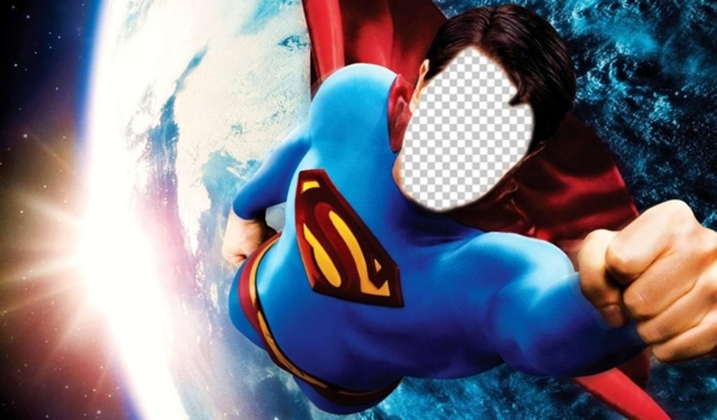 Fotomontage Superman über die Erde fliegen zu werden