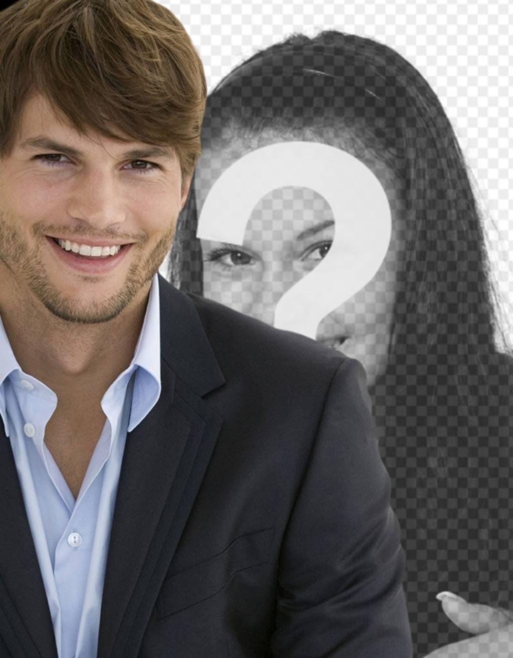 Fotomontage mit Ashton Kutcher in einem Anzug mit Stoppeln und kurze Haare, um ein Bild mit ihm zu haben