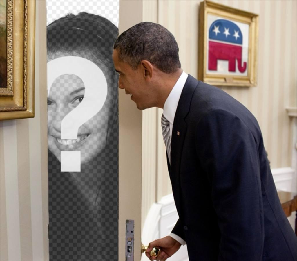Fotomontage von Barack Obama, in dem Sie Ihr Foto erscheint hinter der Tür, die geöffnet wird