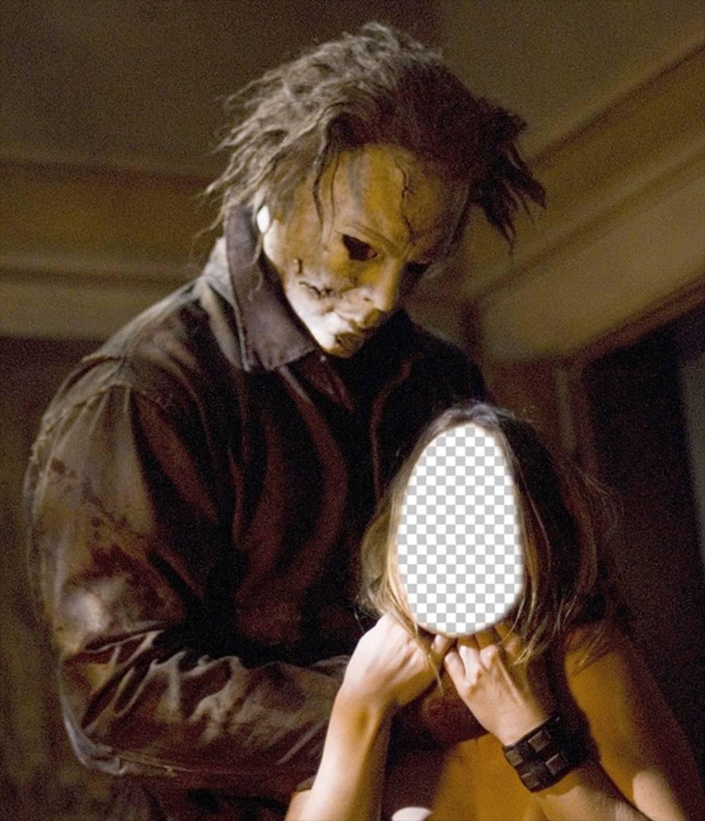 Fotomontage von Michael Myers aus dem Film Halloween Gesicht