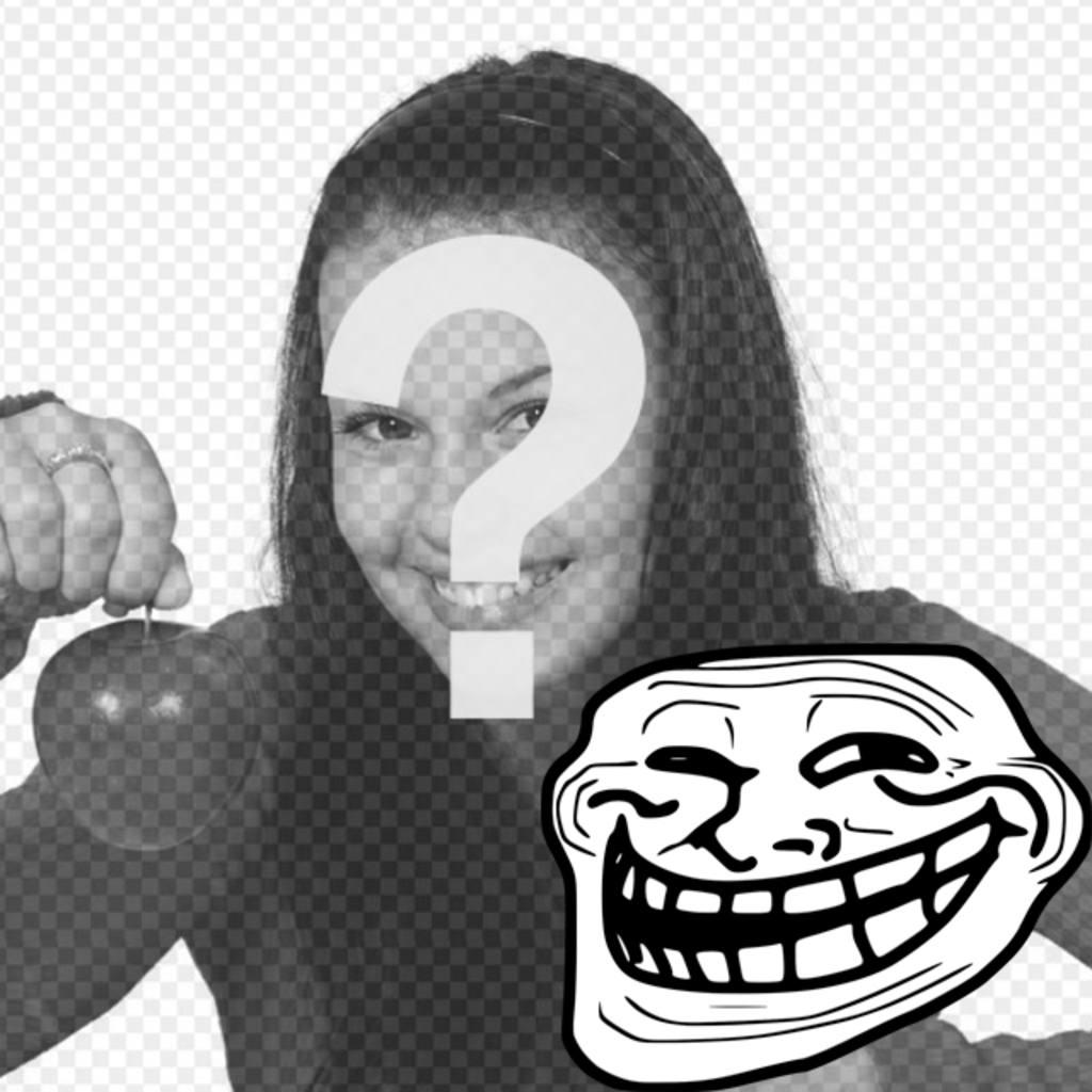 Fotomontage, um das Troll Face Meme mit Ihrem Foto zu versehen