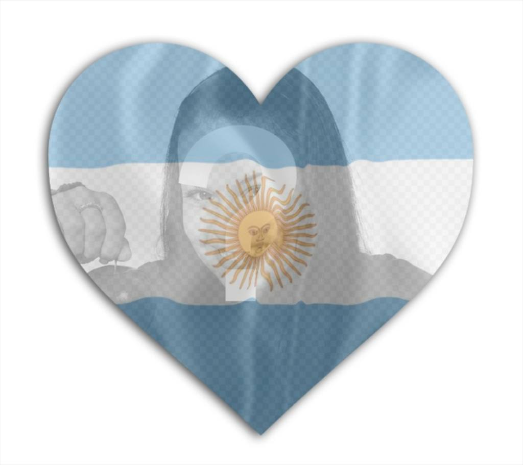Legen Sie Ihr Foto mit der Flagge von Argentinien mit Herzform Hintergrund