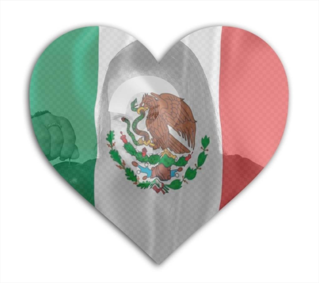 Legen Sie ein Foto in dieses Herz mit der Flagge von Mexiko in den Hintergrund. Xxx Montage sehr einfach, für Ihre Facebook-Profilfoto zu tun