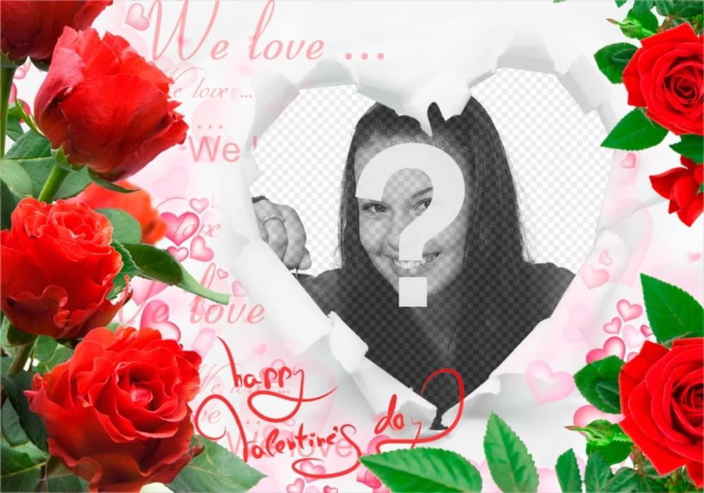 Romantische Rahmen mit Rosen und einem Herzen, um Ihre Fotos einfügen