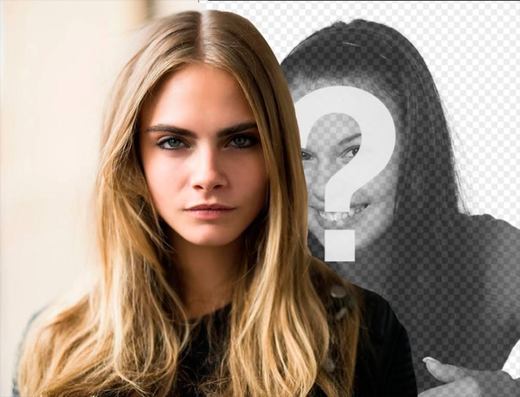 Stand by Cara Delevigne in dieser Fotomontage