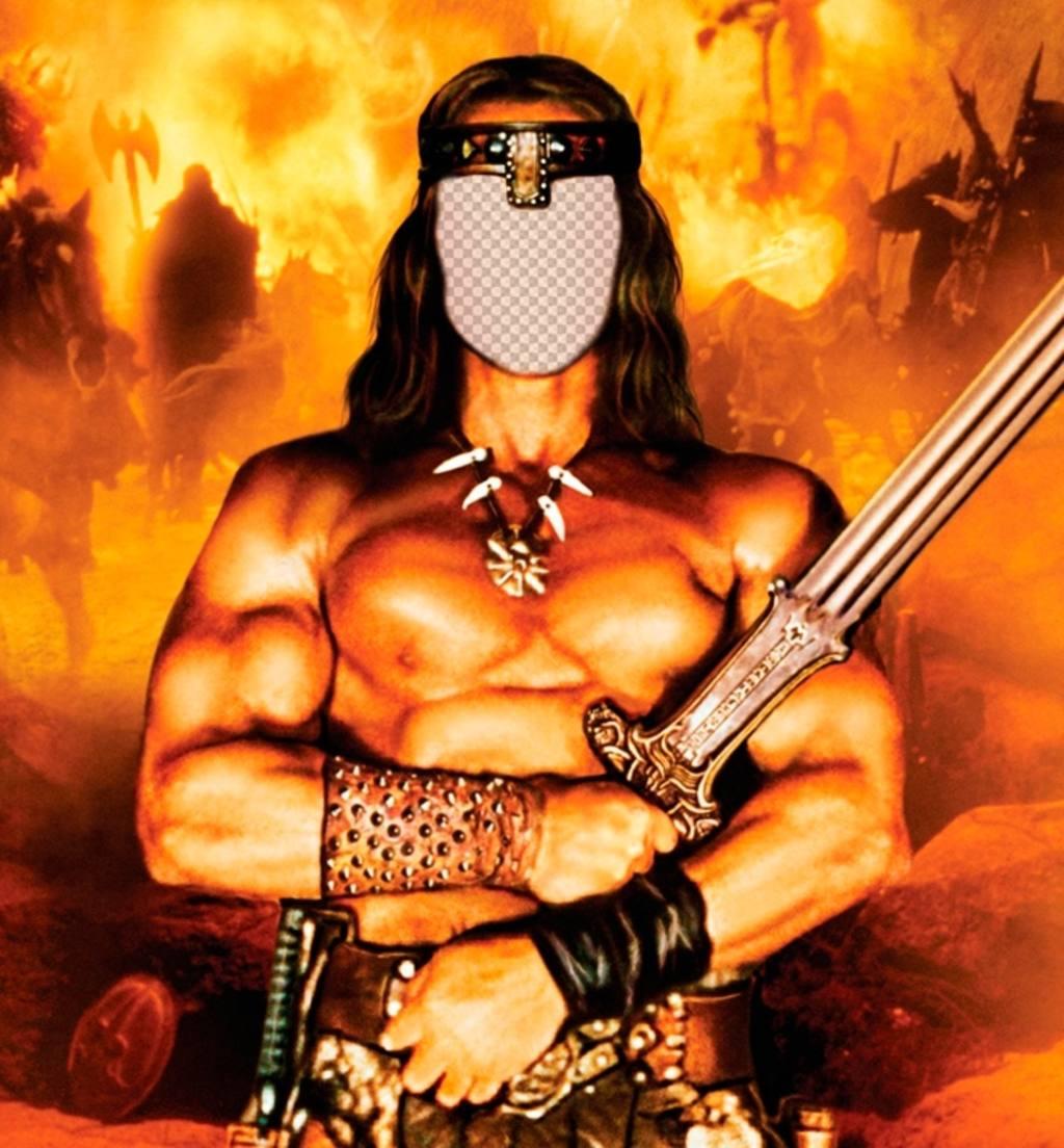 Setzen Sie Ihr Gesicht in diesem Online-Fotomontage von Conan der Barbar