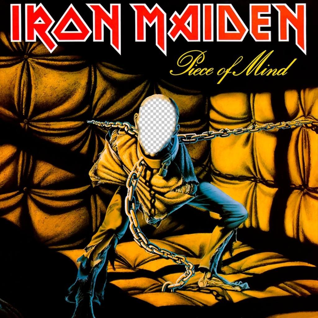 Fotomontage der CD-Cover von Iron Maiden Ihr Gesicht
