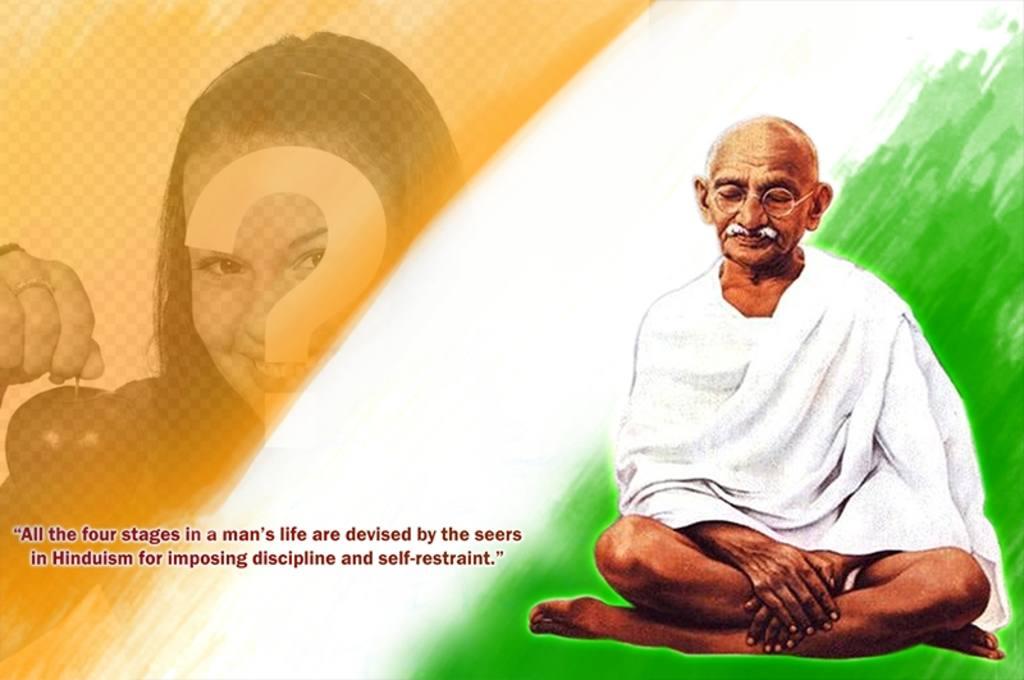 Fotomontage mit Gandhi und ein Angebot
