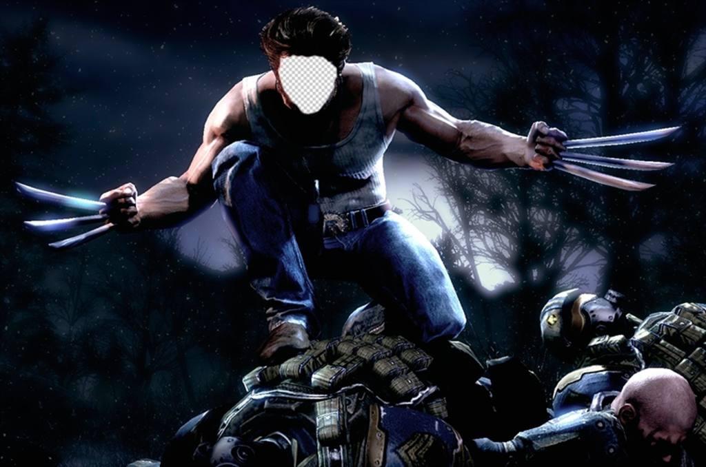 Fotomontage von Wolverine Angriff, bei dem Sie Ihr Gesicht