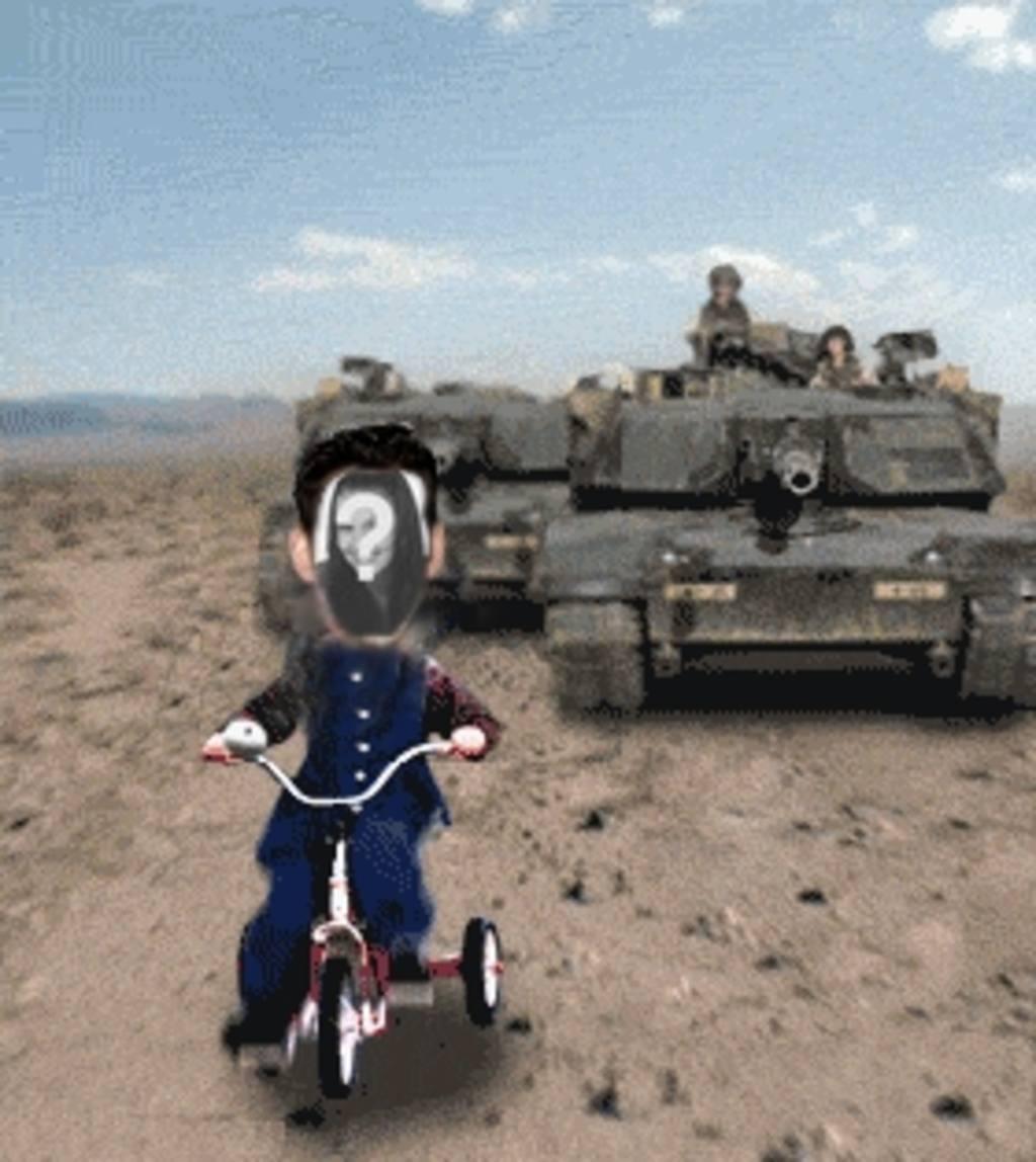 Benutzerdefinierte Animation von Saddam Hussein verfolgt von einem Tank