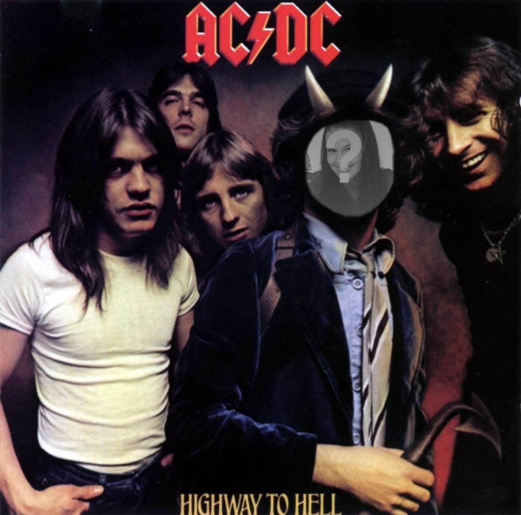"""Photomontage mit der Abdeckung des Highway To Hölle, AC DC, Bon Scott wir  """"ll mit Hörnern sein"""