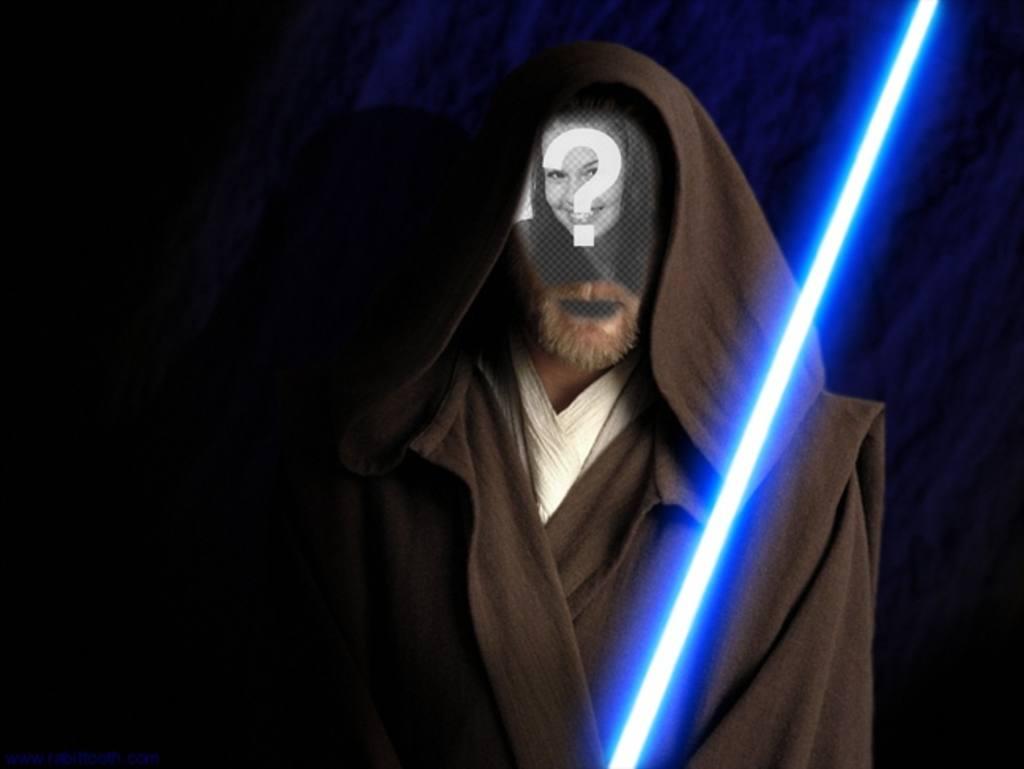 Fotomontage von Obi Wan Kenobi in den Film Star Wars. Erstellen Sie die Collage mit Ihren Fotos