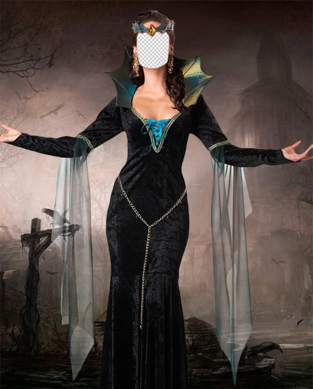 Fotomontage, um Ihr Gesicht in den Körper einer Hexe zu setzen