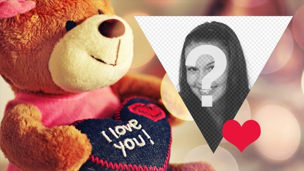 Valentine Postkarte mit einem Teddy, mit Ihrem Foto zu personalisieren
