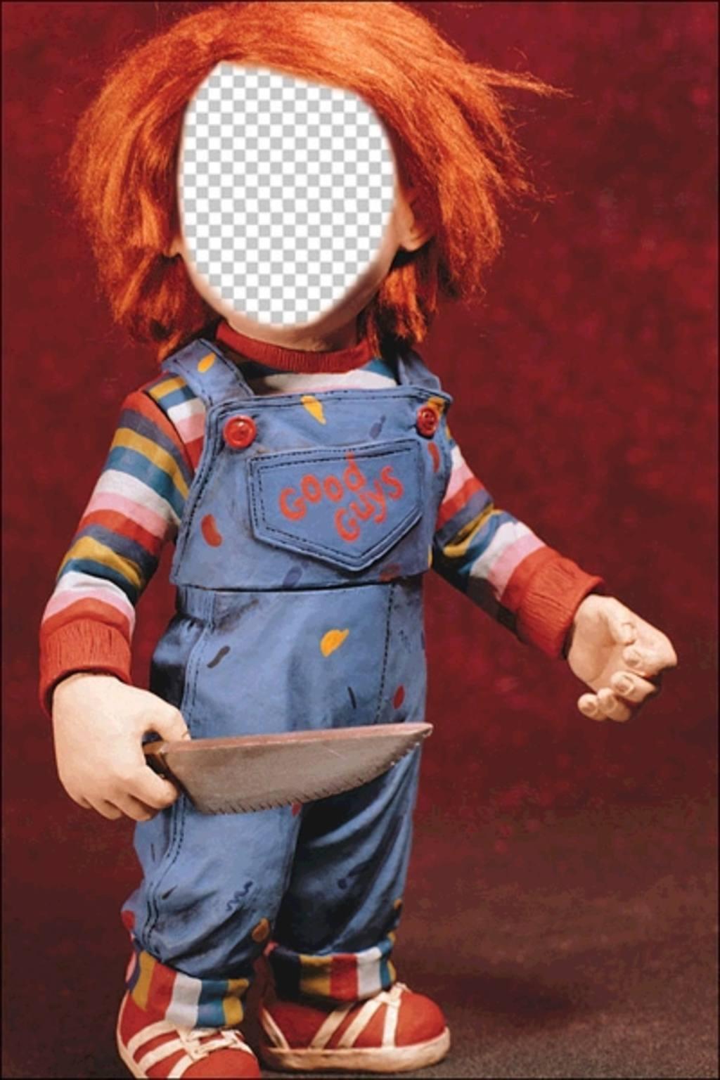 Fotomontage von Chucky mit einem Messer Ihr Gesicht zu setzen