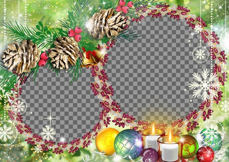 weihnachten rahmen f r zwei fotos auf einem lila girlanden setzen photoeffekte. Black Bedroom Furniture Sets. Home Design Ideas