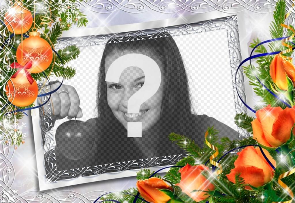 Fotorahmen Weihnachten.Weihnachten Fotorahmen Mit Kugeln Und Orangen Blüten Photoeffekte