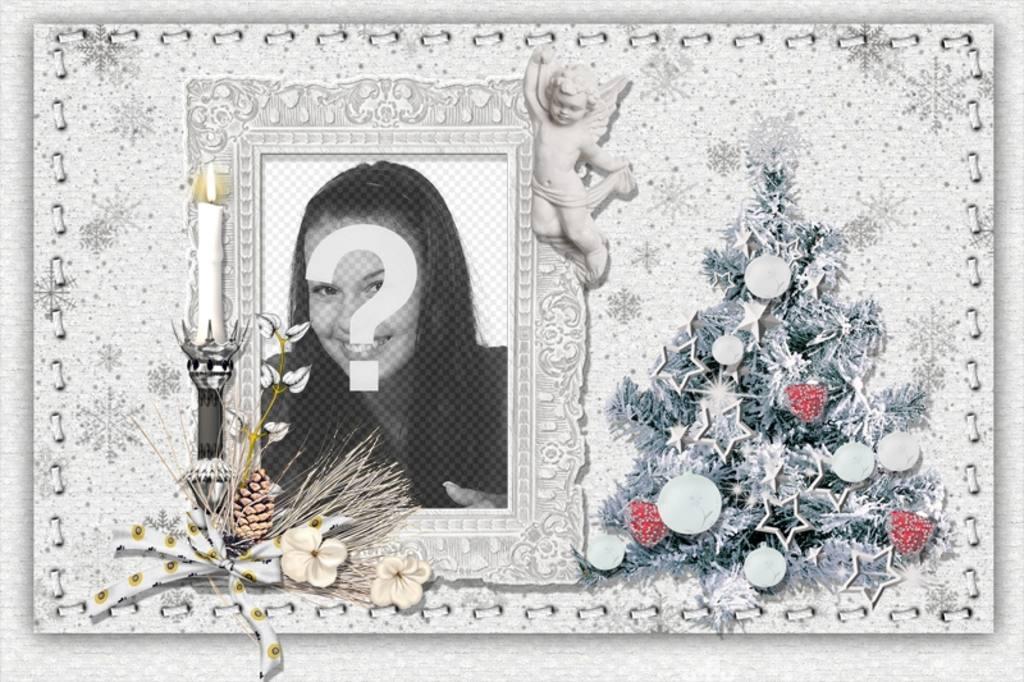 weihnachtskarte mit ihrem foto einen baum und eine kerze zu personifizieren photoeffekte. Black Bedroom Furniture Sets. Home Design Ideas