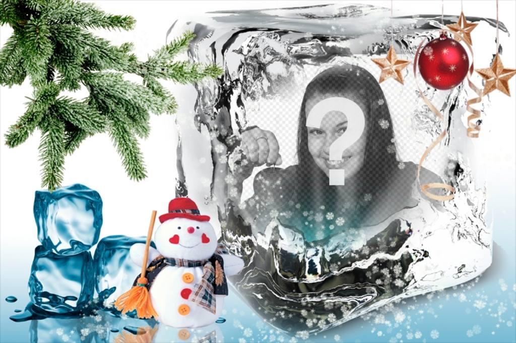Weihnachtsschablone Ihr Foto auf einem Eiswürfel zu setzen
