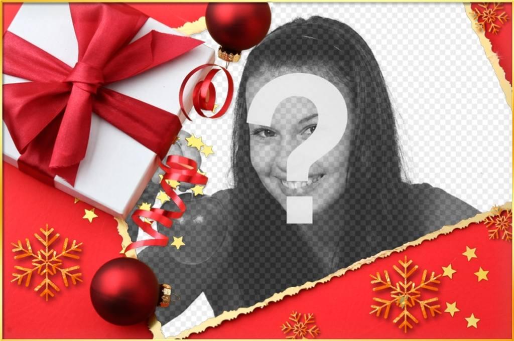 Weihnachtskarte mit einem Geschenk und eine Krawatte Ihr Bild zu setzen