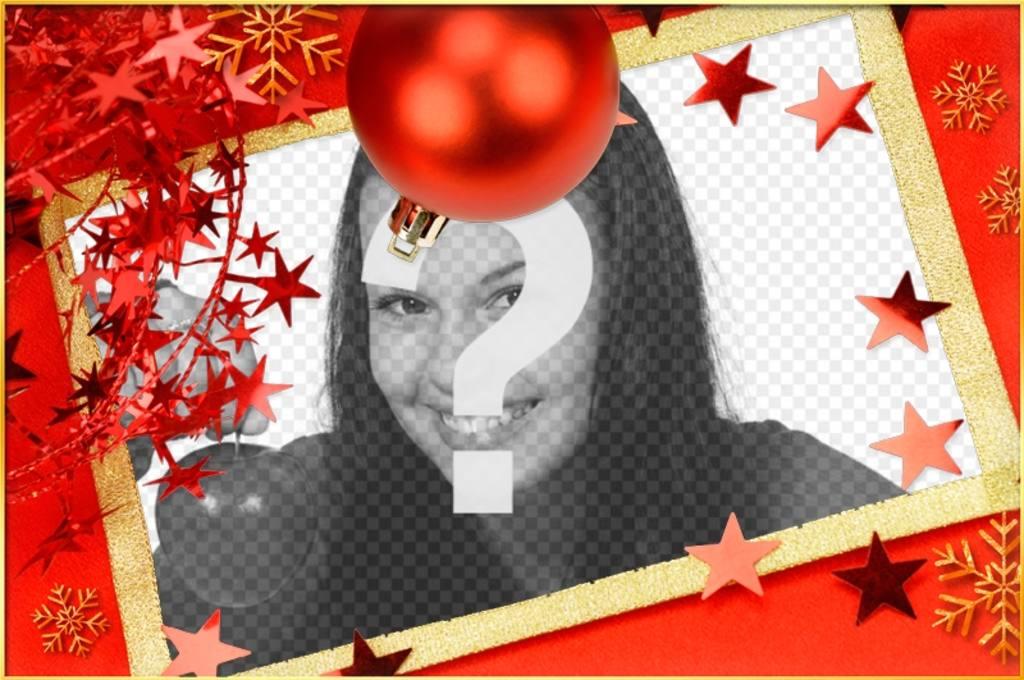 Weihnachtskarte mit einem roten Ball und Sterne für Anpassen