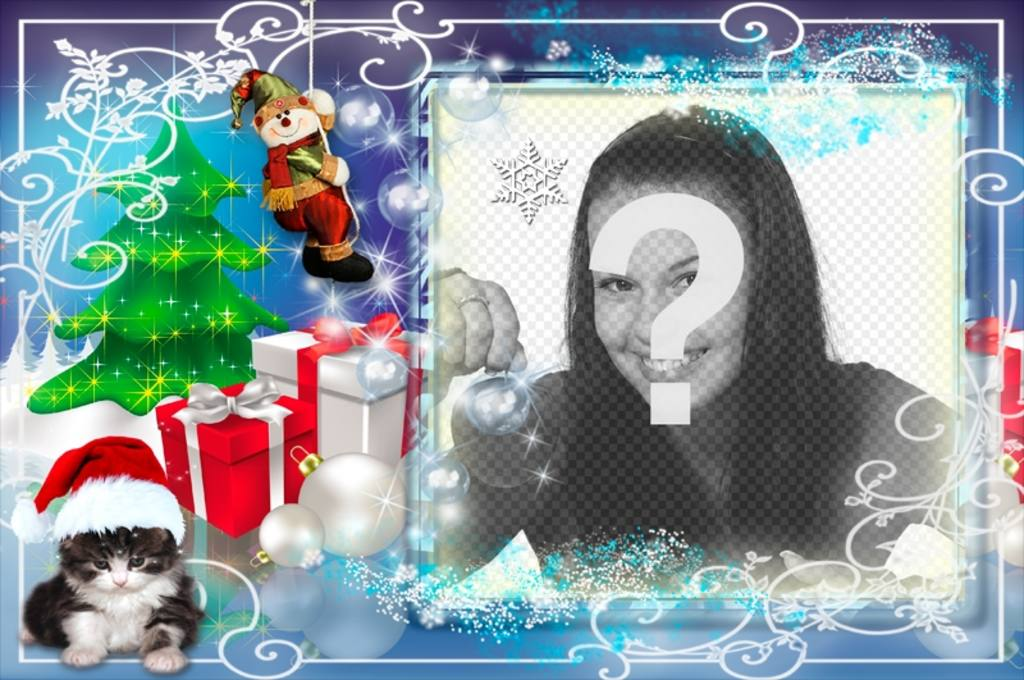 Weihnachten Fotorahmen mit mehreren Geschenke und ein Kätzchen