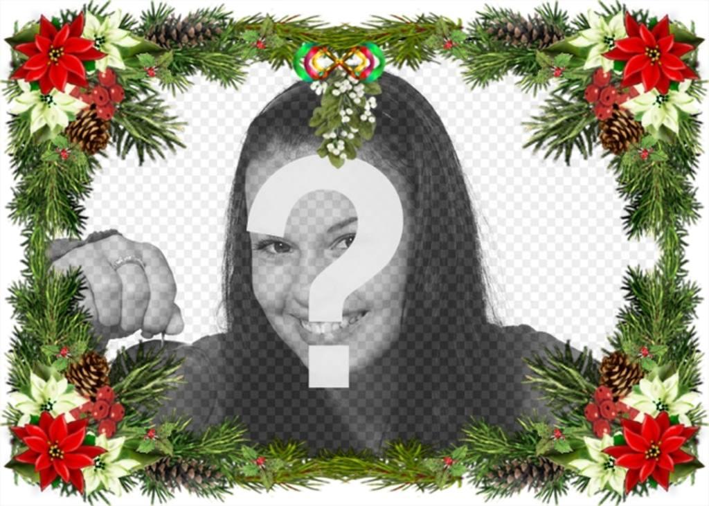 Fotorahmen mit Christbaumschmuck, dass Sie als Weihnachtsgruß verwenden können