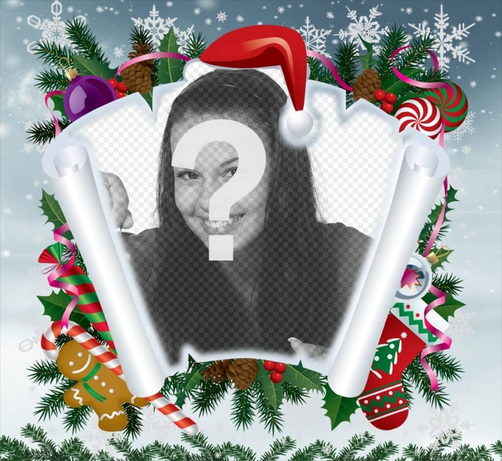 Fotomontage von Weihnachten mit Pergament und anderen Weihnachtsartikeln