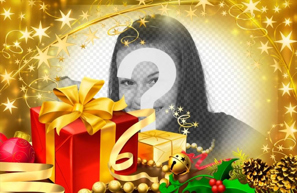 Fotorahmen für Weihnachtsgeschenke und goldene Akzente
