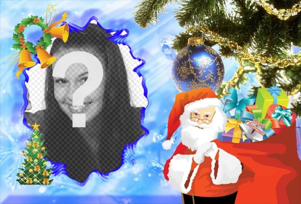 Bilder Online Bearbeiten Weihnachten.Illustrated Weihnachtskarte Mit Santa Claus Ihre Fotos