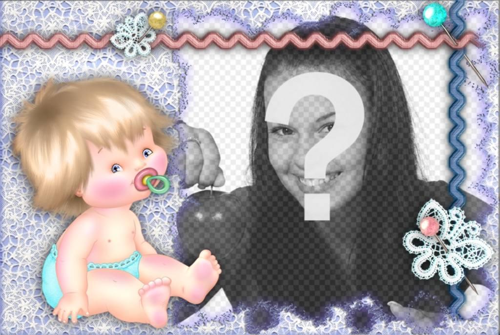 Fotorahmen mit einem Baby, mit Ihrem Foto personalisieren