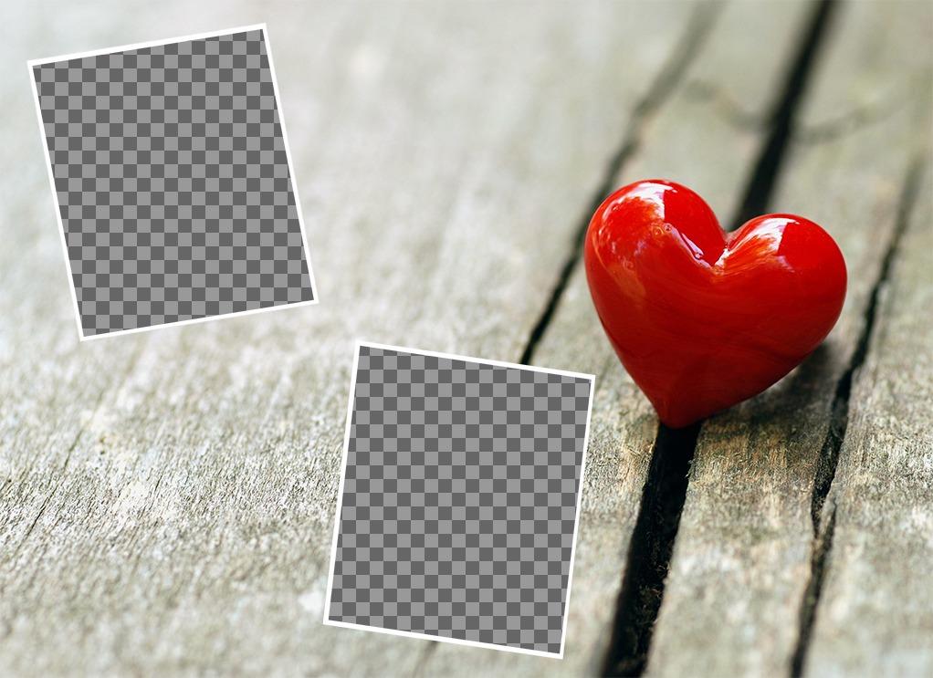 Foto-Effekt, um zwei Bilder von Liebe mit einem Herzen