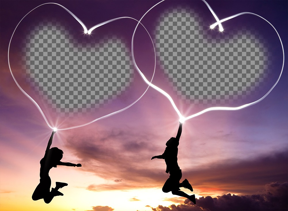 Fotoeffekt der Liebe zu zwei Abbildungen stellen