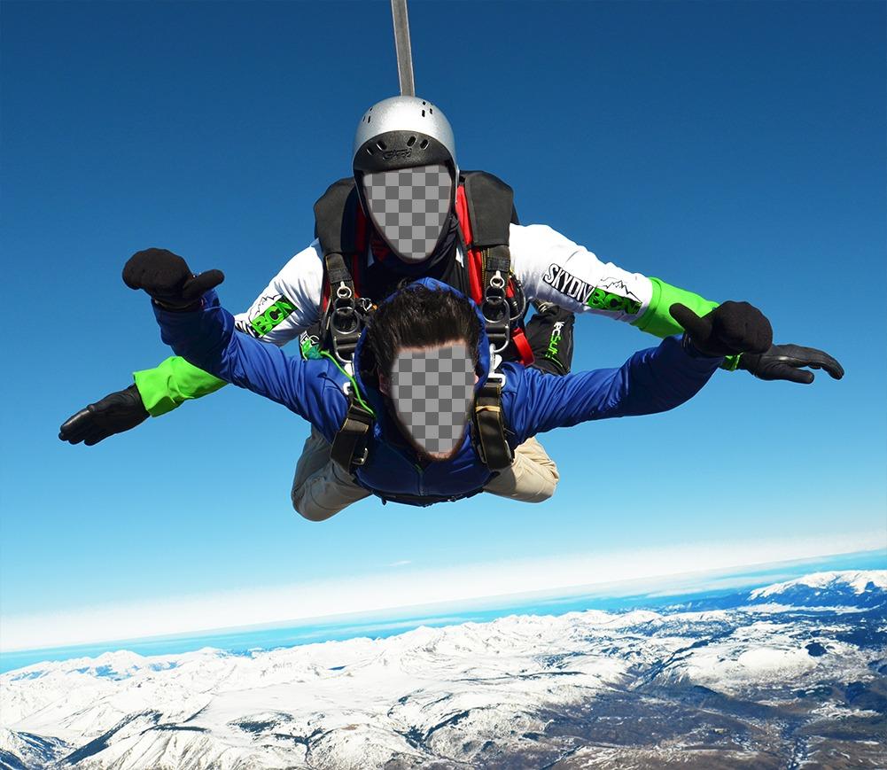 Fotoeffekt von zwei Personen in einem Fallschirm für zwei Fotos