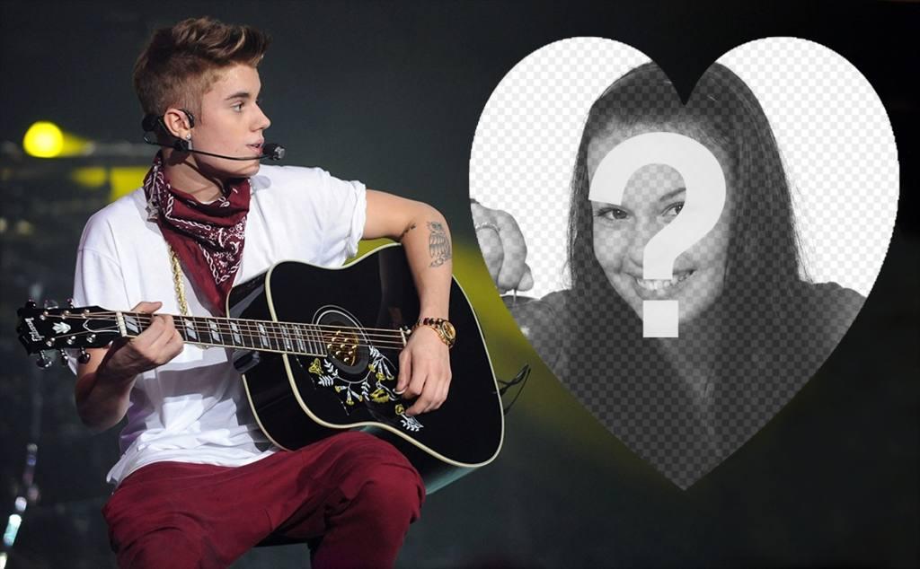 Laden Sie Ihr Bild innerhalb eines Herzens und mit Justin Bieber