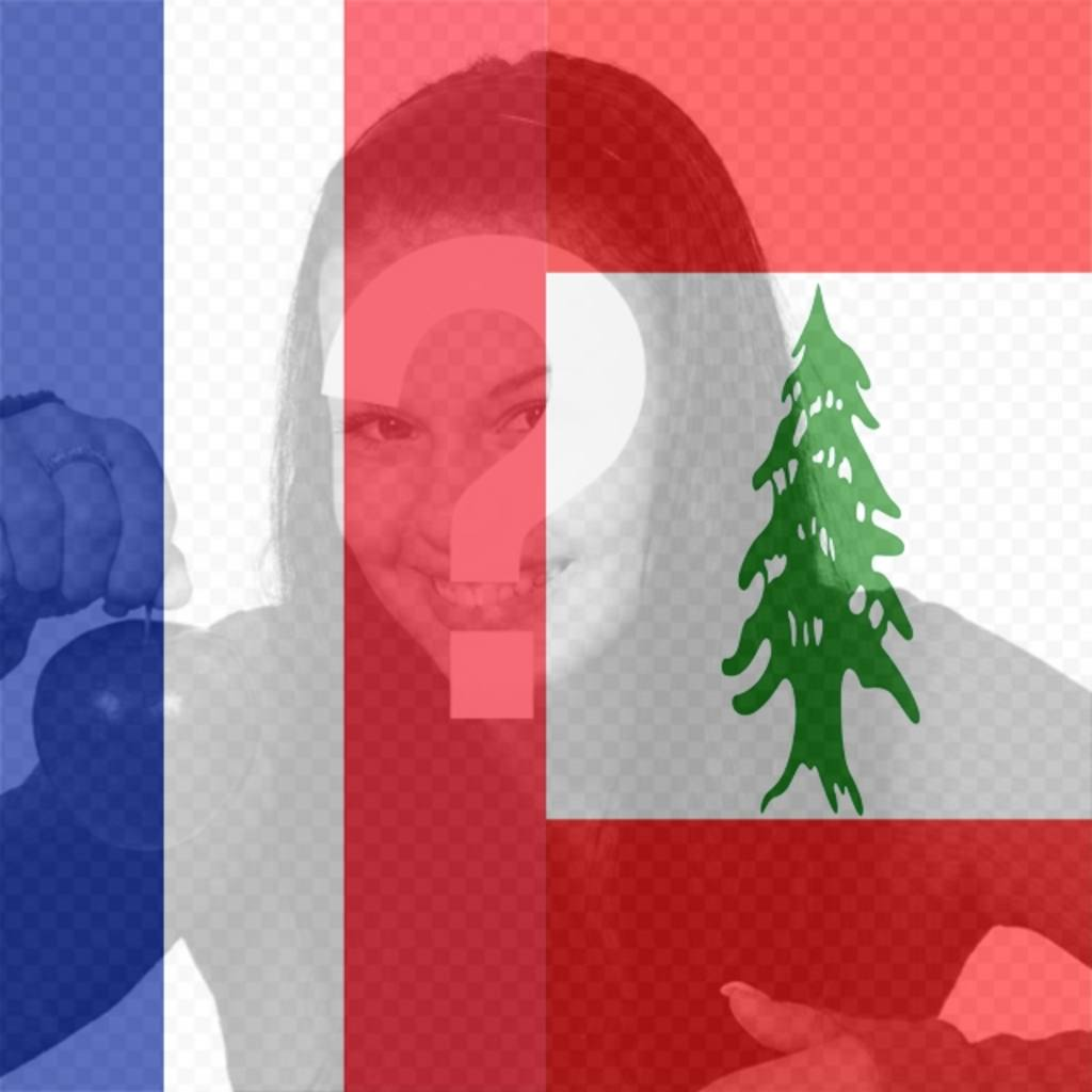 Fahnen des Libanon und Frankreich zusammen als Filter, um Ihre Fotos