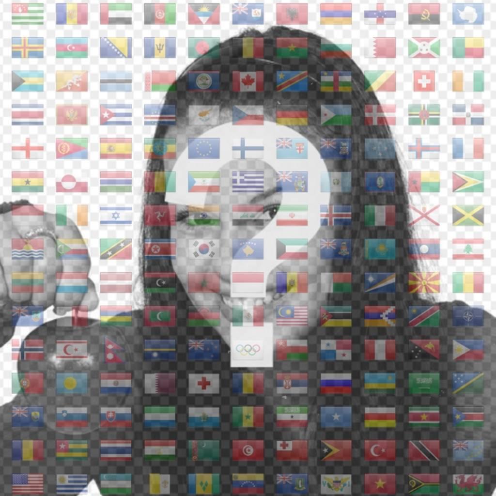 Collage mit allen Flaggen der Welt zusammen, um in Ihrem Profil Bild zu setzen