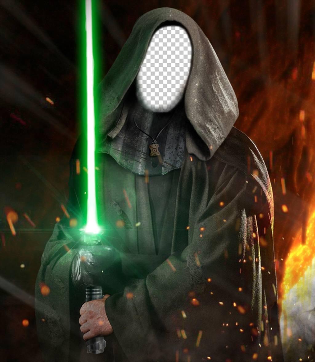 Fotomontage Ihr Foto auf dem Gesicht von Luke Skywalker aus Star Wars zu setzen