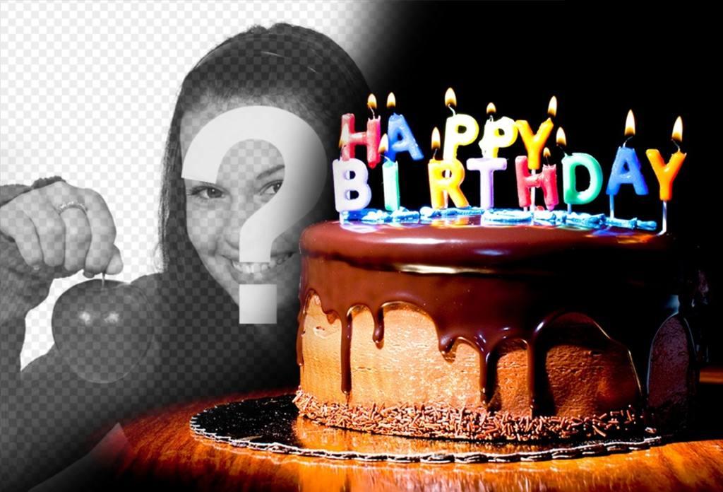 Schokoladenkuchen mit Kerzen, wo Sie Ihre Bilder setzen können